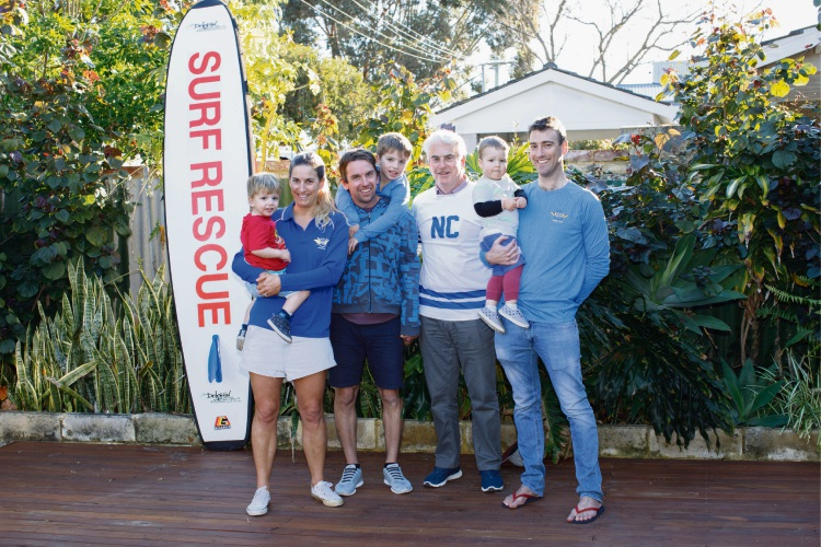 Three generations of North Cottesloe SLSC members (l-r) Kody, Lea, Todd and Ryker Edwards, Adrian, Jesse and Jamie Ridderhof.