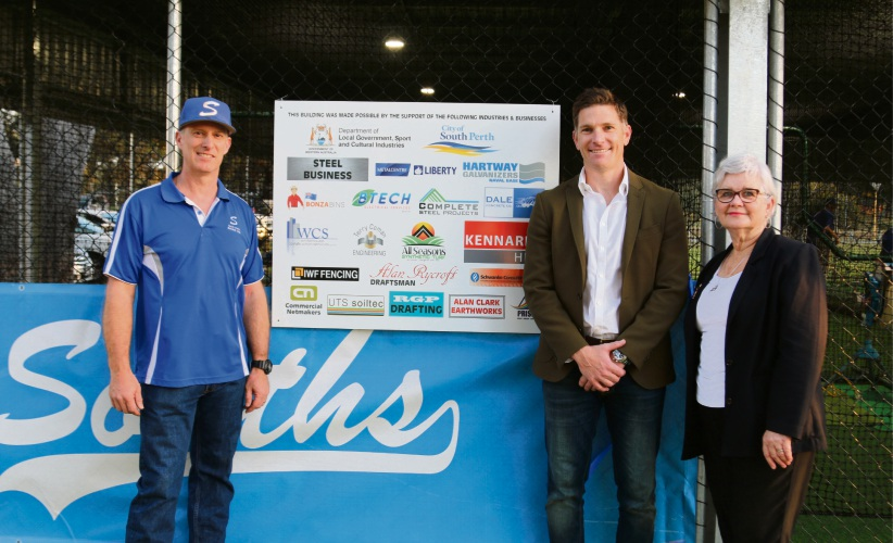 Club person of the year Gavin Bowey, membership director Stuart Scott and City of South Perth Mayor Sue Doherty at the opening of the new hitting cages.