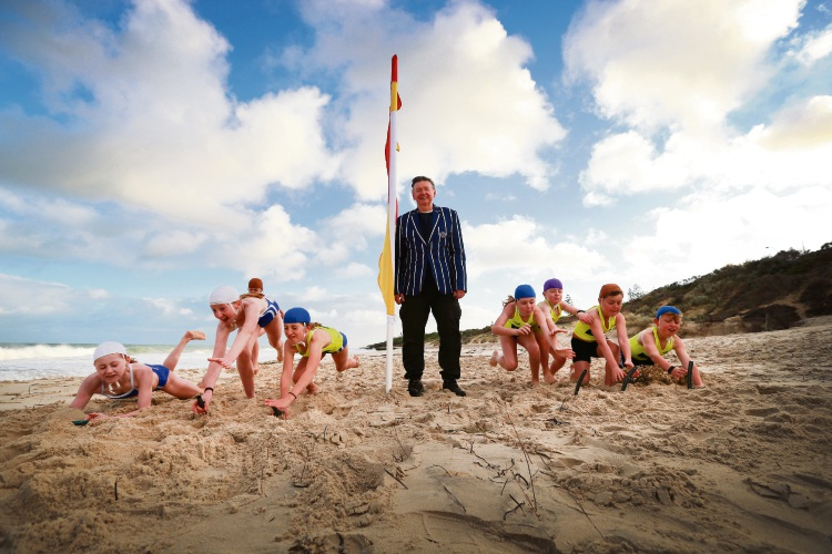 Malcolm McCusker with North Cottesloe SLSC nippers. Picture: Andrew Ritchie