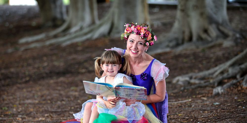 Musical story teller Rebecca Flanagan with her four-year-old daughter Millie, seen here at the Bayswater Library. National Children's Week will be held from October 19 to 28. City of Bayswater libraries are running a series of events. Picture: David Baylis www.communitypix.com.au d487422