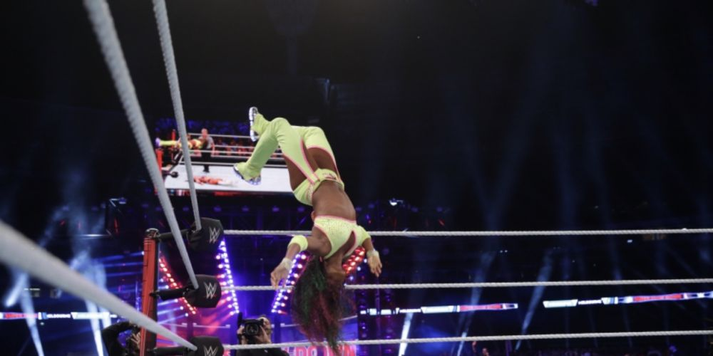 Local girls The IIconics defeated Naomi and Asuka - - Picture WWE