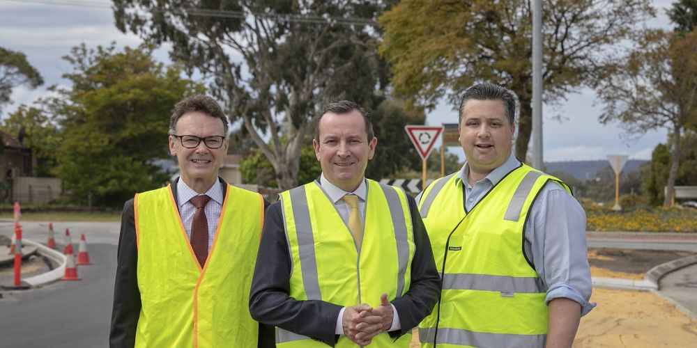 Thornlie MLA Chris Tallentire, Premier Mark McGowan and Southern River MLA Terry Healy.