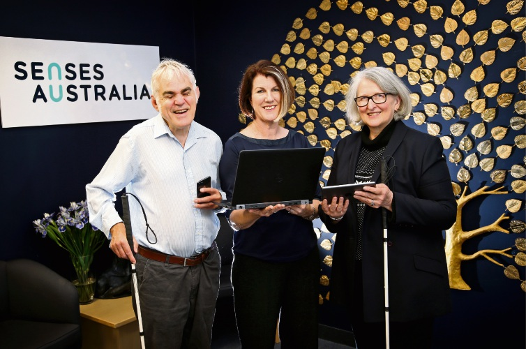 L-R: Peter Cliff (Secretary, Deafblind West Australians), Karen Wickham (Deafblind Consultant, Senses Australia) and Jennifer Weir (Treasurer, Deafblind West Australians).