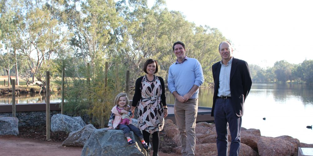 Midland/Guildford ward councillors Mark Elliott, Ian Johnson and Claire Scanlan with her daughter Cosette at the new foreshore.