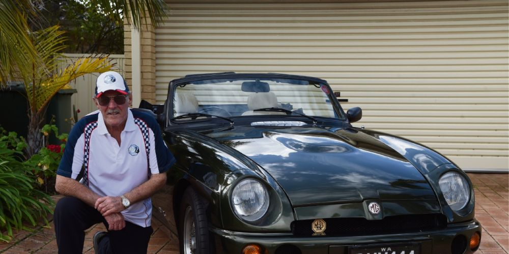 Dudley Park resident Brian Dalton with his MG.