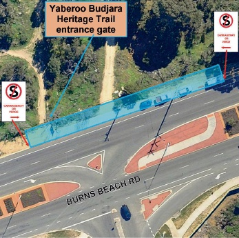 A map of the new parking restriction at the entrance to the Yaberoo Budjara Heritage Trail to be applied.