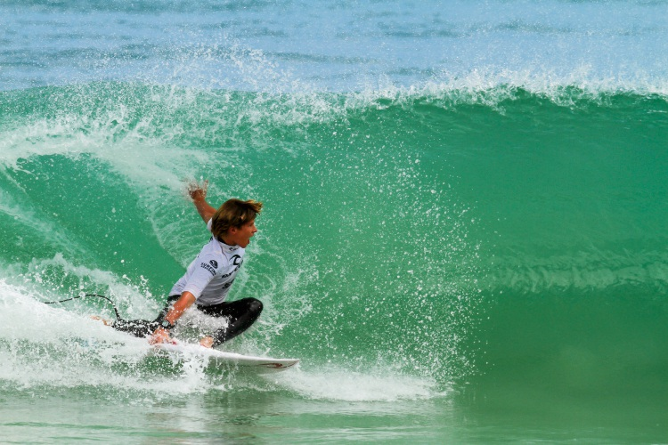 Trigg surfer Jack Mickle competing in the Rip Curl GromSearch Series in Scarborough Picture: Surfing WA/Woolacott
