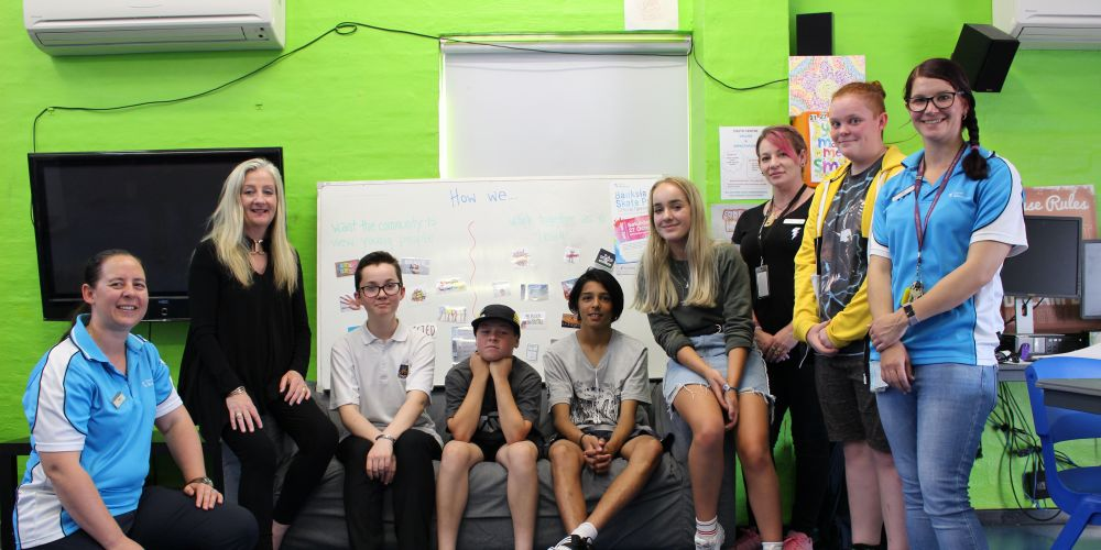 Wanneroo Mayor Tracey Roberts with the Banksia Grove skate park youth working group.