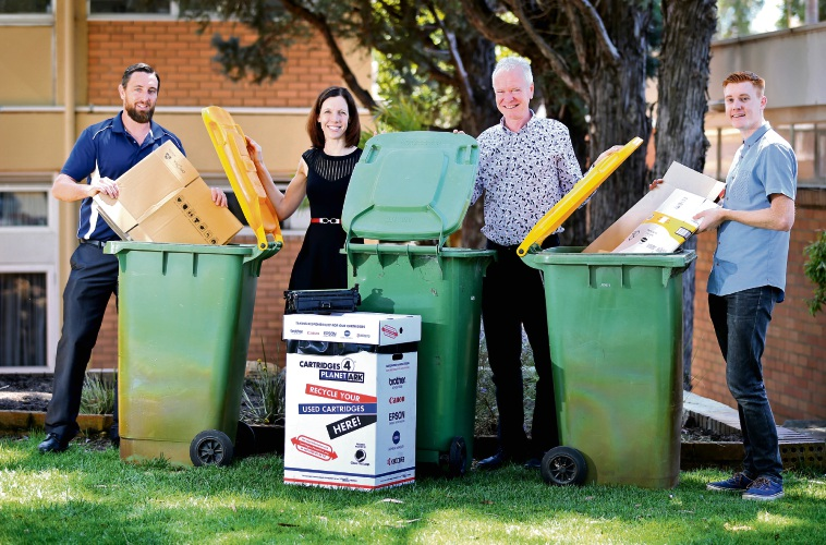 Town of Bassendean senior environmentalist Jeremy Walker, Mayor Renee McLennan, Professor Greg Morrison and Miles Flavel, of Bassendean's volunteer sustainability committee. Picture: David Baylis d487528