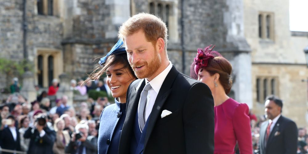 Meghan and Prince Harry after the wedding of Princess Eugenie to Jack Brooksbank just days ago. Picture: Gareth Fuller/Getty Images)