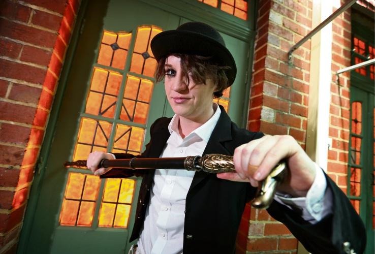 Tattoo time as Sarah Christiner prepares for A Clockwork Orange at Broken Hill Hotel