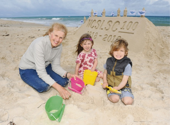Jolimont resident Vern Lloyd brought her grandchildren Charlotte (5) and Jordan (3) Hick to build sandcastles.
