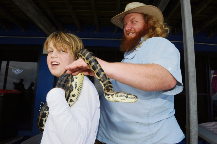 North Cottesloe Primary School student Alasdair Marsden (9) got to grip with a snake provided by Ranger Red.