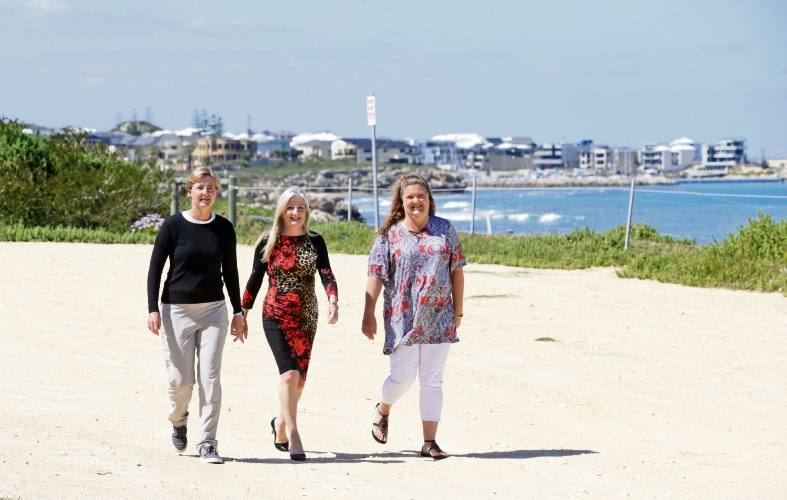 Wanneroo councillor Sonet Coetzee, Mayor Tracey Roberts and Deputy Mayor Natalie Sangalli at the Quinns Rocks Caravan Park site. Picture: Martin Kennealey d487722