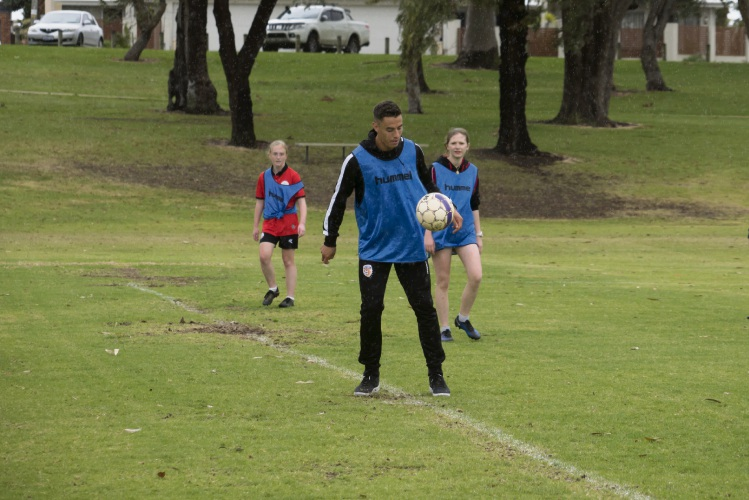 Socceroos and Perth Glory winger Chris Ikonomidis visits Northern Redbacks Women's Soccer Club in Balga