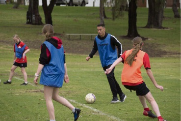 Socceroos and Perth Glory winger Chris Ikonomidis visits Northern Redbacks Women's Soccer Club in Balga