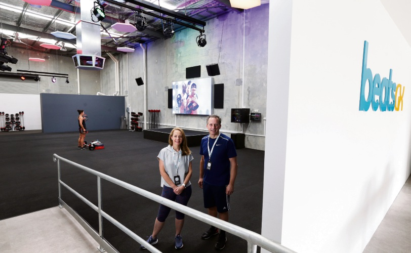 Amber and David Lewis opened beatsGX group fitness studio in Joondalup. Picture: Martin Kennealey d487642