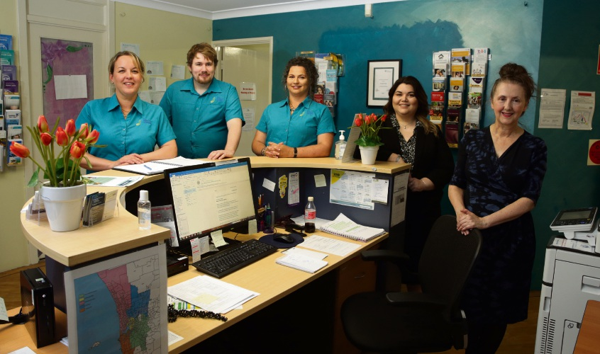 The Spiers Centre staff Katrina King, Ben Tew, Kyla, Gaelle Gouillou and Wendy Pitt. Picture: Martin Kennealey d487704
