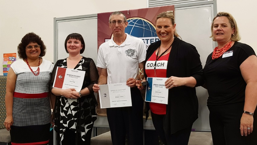 Jenny de Wind (Toastmasters Area Director) with competitors Nina Atiya, Graham Watson, Louise Wynne and humorous contest chair Emma Kake.