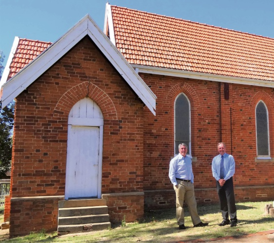 Murray Shire president David Bolt and chief executive Dean Unsworth outside St John's Church.