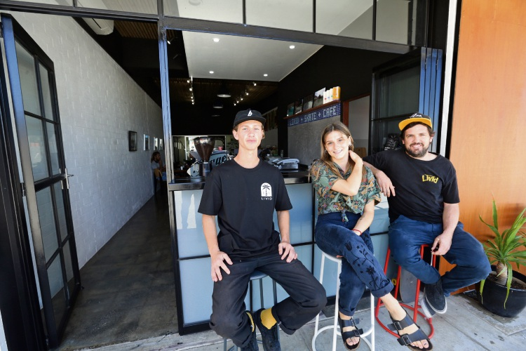 Mitchell Conti, Jazamine Uyen and  Oska Tallis (owner) from Livid Skate Cafe. Picture: Martin Kennealey www.communitypix.com.au   d487778