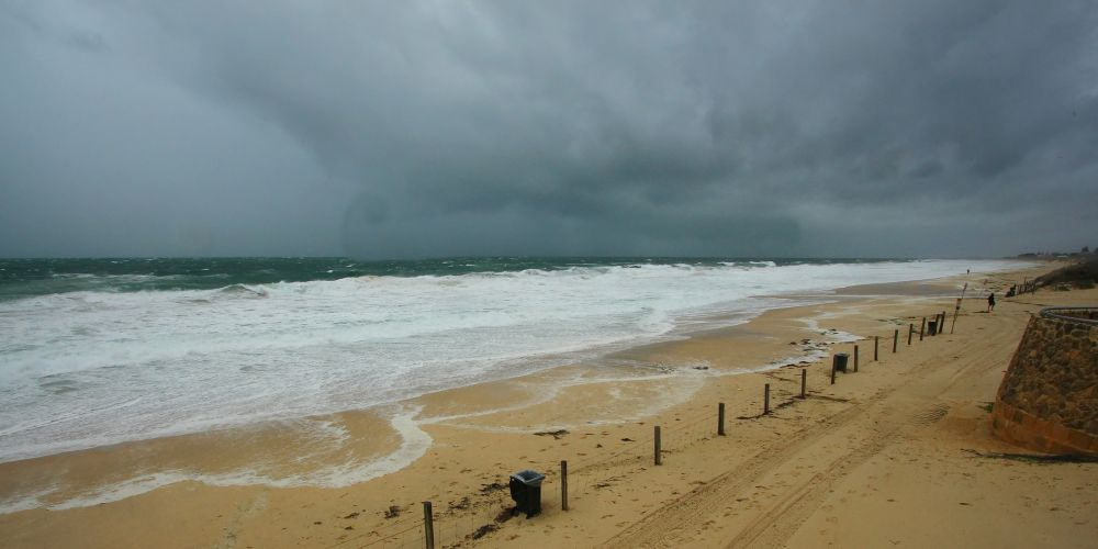 Cold front, storm and rain on the beach in Perth, Australia.