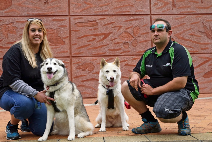 Narelle Crozier with Maya and Adam West with Asha. Picture: Martin Kennealey d487312