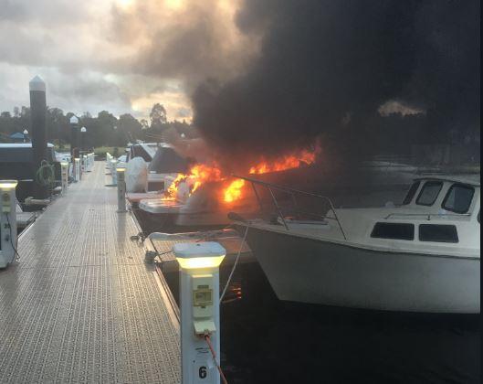 Boat on fire in Ascot Waters. Picture: 6PR Breakfast Twitter @6PRbreakfast