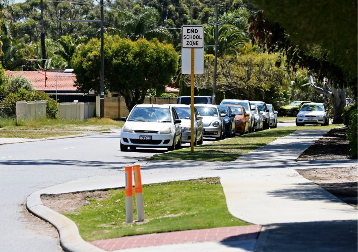 Cars parked along Agincourt Drive in Willetton are causing sight-line and safety issues, residents claim. Picture: David Baylis