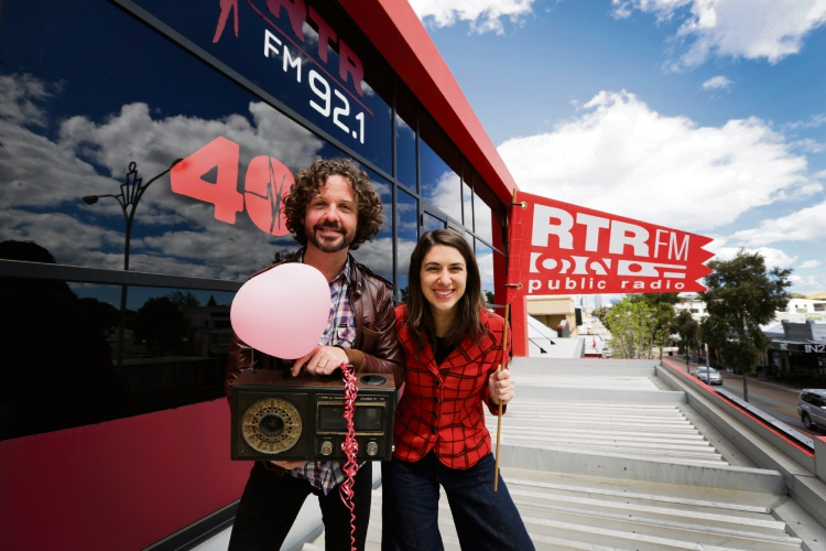 RTRFM general manager Stu MacLeod with previous breakfast presenter Caitlin Nienaber celebrating the station's 40th anniversary in 2017. Mr MacLeod has just announced his move to the Fairbridge Festival and FolkWorld.