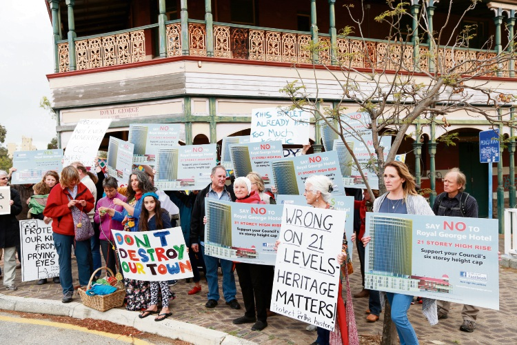 Local residents are protesting the Royal George Hotel proposed development of 21 storeys.