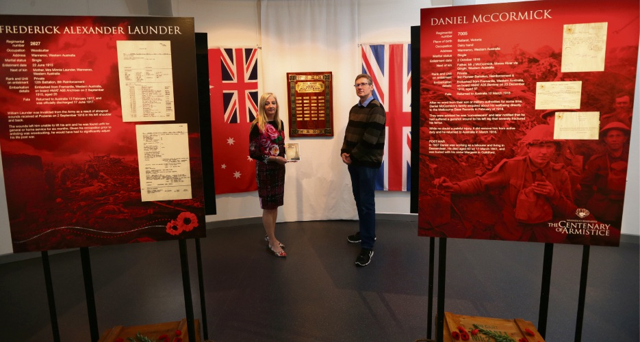 Wanneroo Mayor Tracey Roberts with Wanneroo Regional Museum curator Bryce Kershaw. Picture: Martin Kennealey d487921