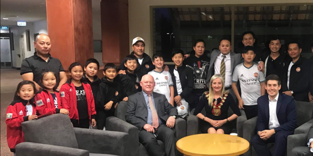 Westnam United Soccer Club members with Wanneroo councillors.