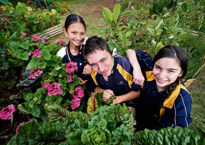 Irish Malaran, Brodie Luckens and Amy Mann in the school garden. Picture: David Baylis
