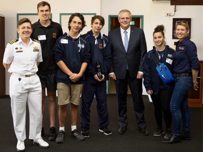 Students with Prime Minister Scott Morrison.