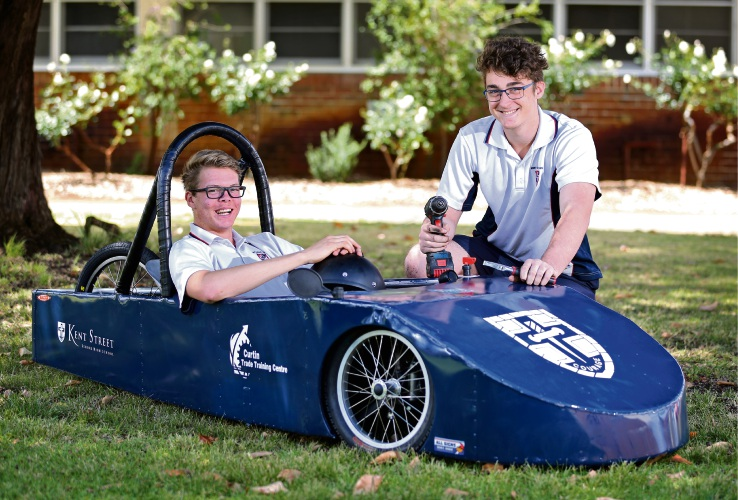 Kent Street Senior High School students Nathan Nielson and Jake Griffiths with the electric car built for the EV Challenge. Picture: David Baylis