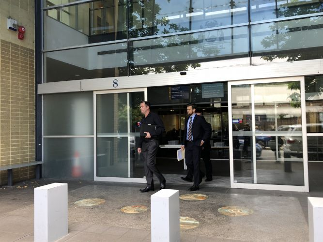 Senior Constable Keenan James outside of Fremantle Magistrates Court with his defence lawyer. Picture: Leah Roberts.