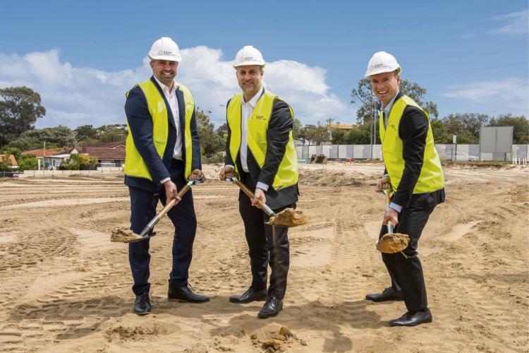 AGEM Property Group non-executive director Mark Borrello and managing director Adrian Fiore with Joondalup Mayor Albert Jacob.