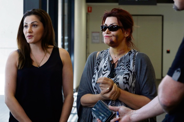 The victim's daughter (left) describes the effect of the violent bag snatch on her mother at Cottesloe Beach that left her with a broken jaw. Picture: Post Newspapers.