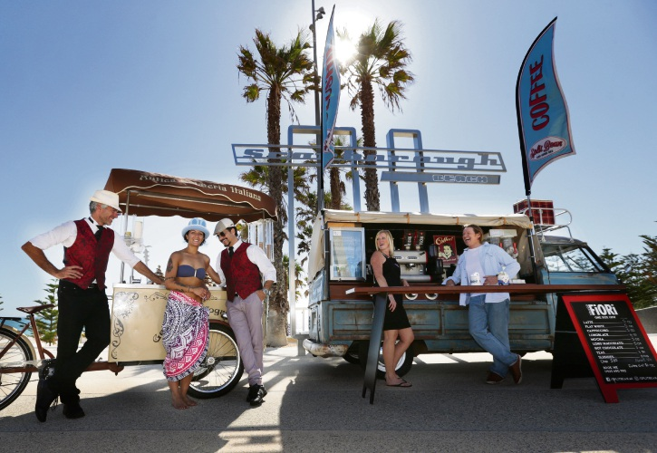 Fabrizio Ginnelli and Gerardo Micco from Antica Gelateria Italiano with Ronyt Manna and Sam Hughes from Split Bean as well as Scarborough Beach Association chairman Wayne Bowen. The Scarborough Sunset Markets will launch on November 1. Picture: Martin Kennealey.