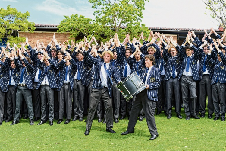 Hale School leavers performing the Viking Clap.