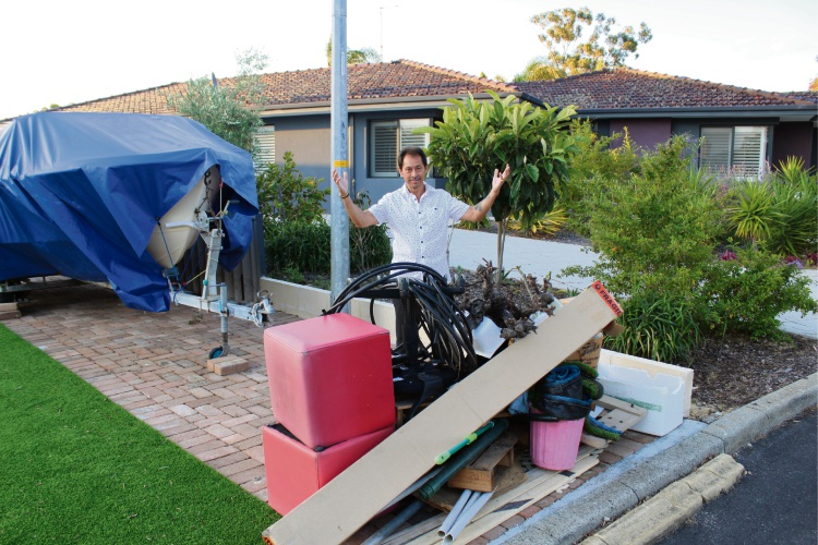 Booragoon resident Chad Beins has been left bemused by thieves stealing his letterbox during the City of Melville's verge collection. Picture: Aaron Corlett.