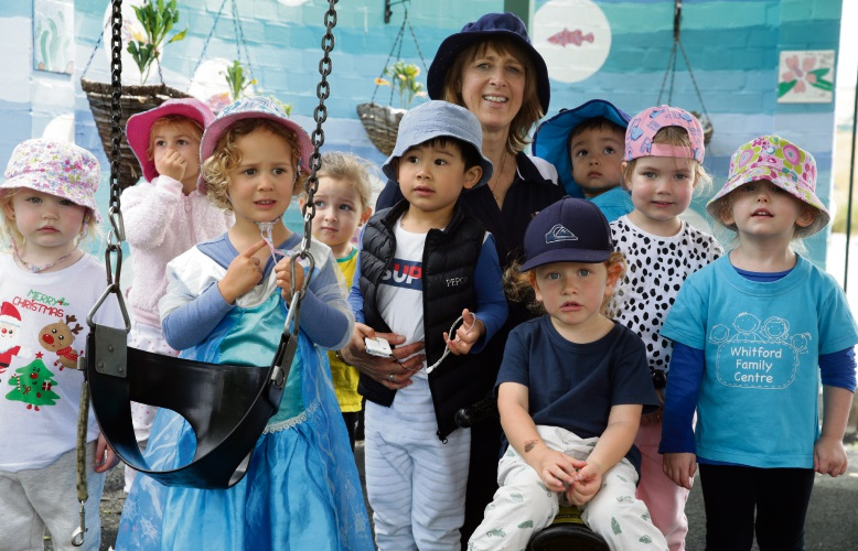 Educator Jenny Tough with children at the Whitford Family Centre. Picture: Martin Kennealey d487922