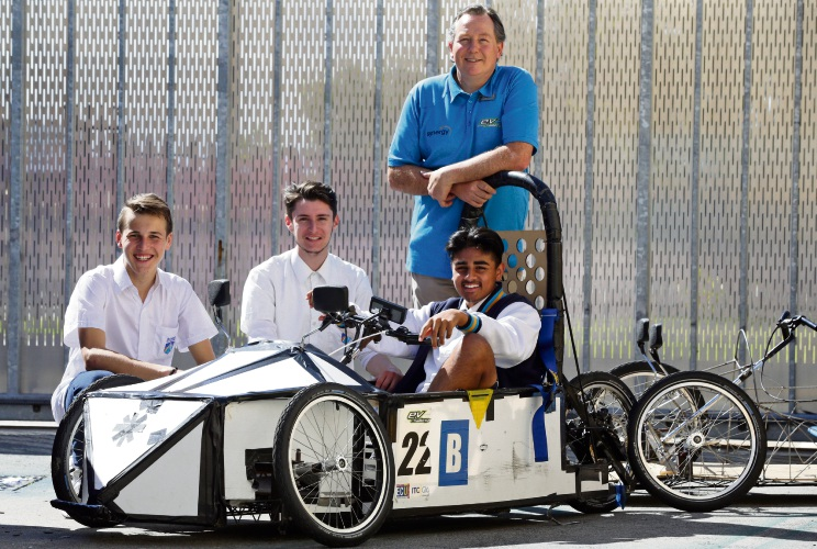 Ashdale Secondary College teacher Peter Bosch with year 11 students Sergio Gut, Rafael Abdalla Mattioli and Vinay Patel. Picture: Martin Kennealey d487724