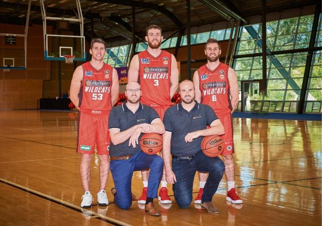 Pentanet's Stephen Cornish and Tim Cornish with Perth Wildcats players Damian Martin, Nick Kay and Mitch Norton.