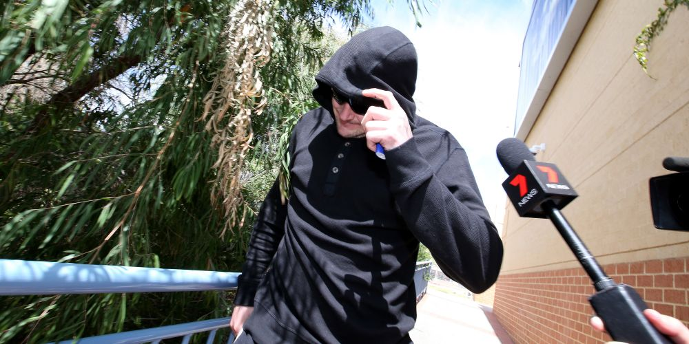 Dylan Griffin leaves Joondalup Magistrates Court at an earlier hearing. Picture: The West Australian