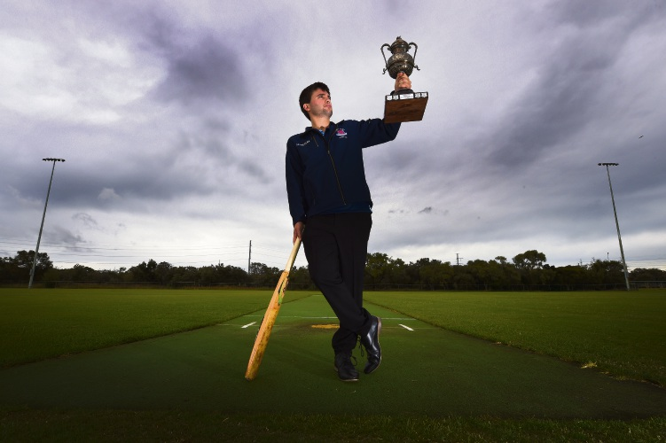 Leeming Spartans Cricket Club secretary Daniel Coombs with the 1922 premiership trophy. Picture: Jon Hewson.