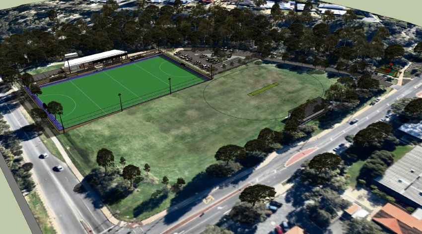A mock version of Westside Wolves Hockey Club's proposed permanent hockey facilities at Mt Claremont Oval.