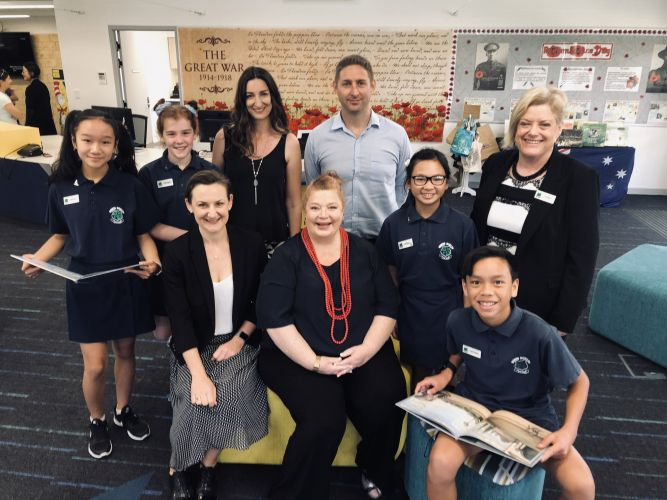 Morley MLA Amber-Jade Sanderson, Education and Training Minister Sue Ellery with North Morley Primary School P&C president Emma Harris, school board chairman Jordan McGrath, principal Lisa Gibson and students.
