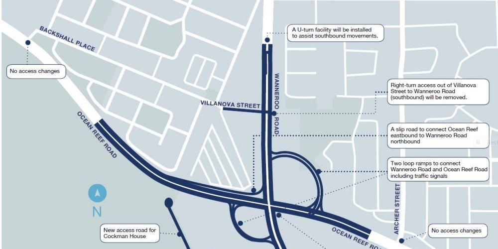 The October 2018 concept design for the Wanneroo Road-Ocean Reef Road  interchange.